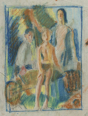 Study of a woman and two boys with a wheelbarrow