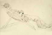 Study of a young man asleep in a deckchair
