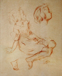 Study of seated girl looking up to the right